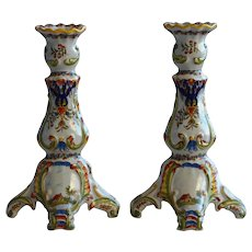 Pair of French Faience Candlesticks by Desvres