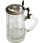 19th C German Etched Glass Stein Tankard with Pewter Lid