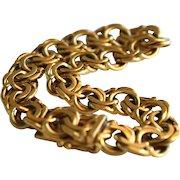 Vintage 18k Gold Double Link Swedish Charm Bracelet
