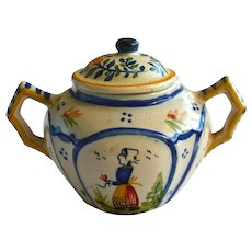 19th C Signed H.Quimper Faience Sugar Bowl with Lid