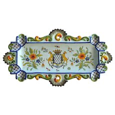 Antique French Desvres Faience Tray, 1890s, Signed