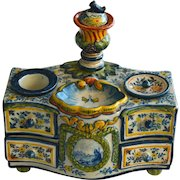 Beautiful Antique Desvres Faience Ink Well-Box, France 19th C
