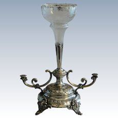 Mid 19th Century Austrian Centre Piece, Silver Plate and Etched Glass