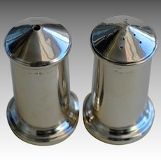 Vintage Modernist Solid Silver Salt & Pepper Shakers, Birmingham 1942