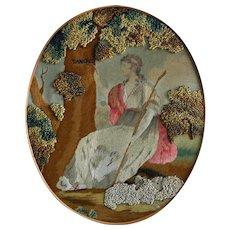 Georgian Embroidery, Silk Work with Original Frame