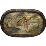 Early 19th C Tray with Original Embroidery and Carved Oak Oval Frame