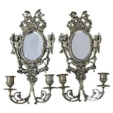 Very Elegant Pair of  French Bronze Cherub Wall Sconces Candelabra  with Mirror, c 1880