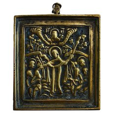 19th C Bronze Russian Icon, Mother of God of Passion