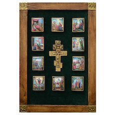 A Decorative Framed Panel with 19th C. Russian Crucifix and 10 Enamel Icons