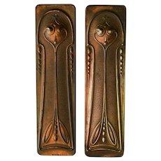 Original Art Nouveau Pair of Copper Door Finger Plates/Pushes