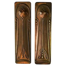 Original Art Nouveau Pair of Copper Door Finger Plates/Pushes