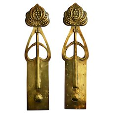 Original Art Nouveau Pair of Brass Door Finger Plates/Pushes Active