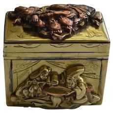 Antique Japanese Meiji Period Brass and Copper Samurai Theme Box