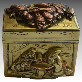 Antique Japanese Meiji Period Brass and Copper Samurai Theme Box