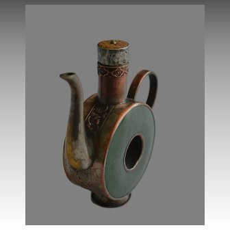 Vintage Oriental Copper & Jade Incense Jug