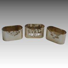 Set of 3 Vintage London Marked Napkin Rings