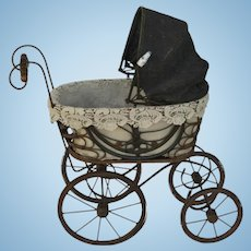 Vintage Rattan, Wood and Metal Doll Carriage