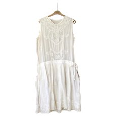 1920ies French Cotton and Lace Summer Dress