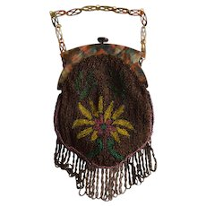 Antique French Beaded Bag with Chain Handle