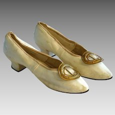 A Pair of Vintage Leather Cream Colour Shoes