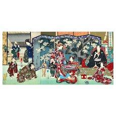 Meiji Period Original Japanese Woodblock Triptych Print