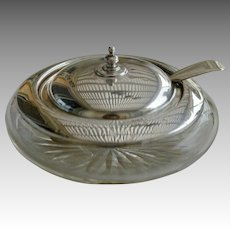 Antique Silver and Glass Caviar Bowl with Spoon, Joseph Rodgers, Sheffield 1910