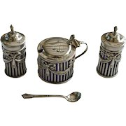 Sterling Silver Condiment  Set, London 1909