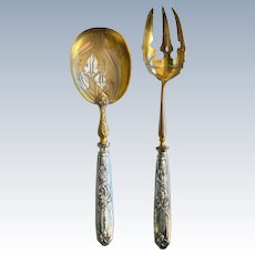 Very Elegant 19th C Silver Plate Gilt French Serving Set