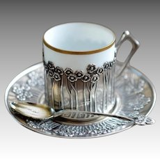 Art Nouveau Silver Coffee Cup and Saucer
