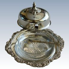 Vintage Silver Plate Sheffield  Butter Dish with Bowl