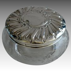 19th C French Silver and Engraved Glass Large Bowl