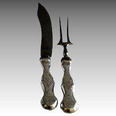 19th C. Dutch Silver Handled Meat Carving Set
