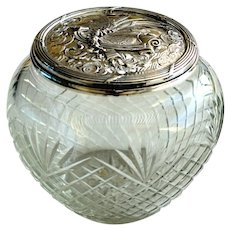 19th French Cut Glass Bowl with Silver Plate Top