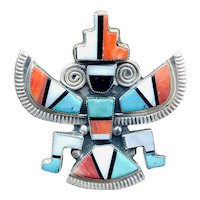 Native American Old Pawn ZUNI Signed Brooch
