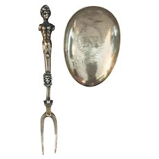 Louis XIV Combined Retractable Silver Spoon with Two Tine Fork, 1592.