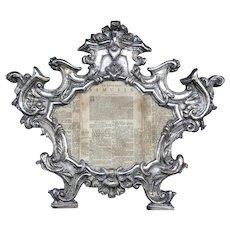 18th Century Baroque Silver Repousse Carta Gloria, Venetian.