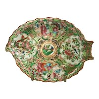 19th Century Chinese Export Rose Medallion Leaf Dish