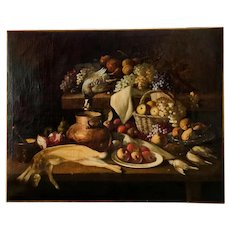 17th Century Large Dutch Painting Still Life with Fruit and Game, Oil on Canvas