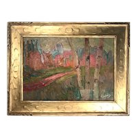 French Fauve Landscape Oil Painting Signed, A. Derain, 1880- 1954
