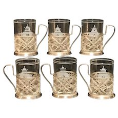 Vintage Set Russian Tea Cups with Silver Plate Filigree - Set of 6