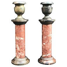 SOLD -19th Century Pair of Antique Grand Tour French Candlesticks.