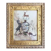 18th Century Watercolor English Coat of Arms, Hand-Carved and Gilded Frame