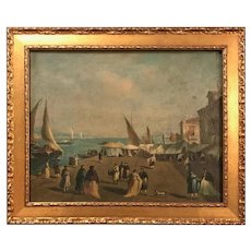 18th Century Giacomo Guardi Old Master Painting of Venetian Lagoon.