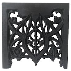 French Neo Gothic Wood Carving Arch Wall Panel