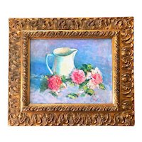Late Impressionist Still Life Oil Painting, Signed.