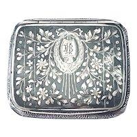 19th Century Russian Niello Silver Tobacco Case With Hallmarks.