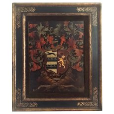 Antique Heraldry English Palmer Family Crest Painted Oil on Board