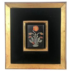 Pietra Dura Italian Stone Inlay Floral Mosaic, Black Velvet Matted. Giltwood Framed Wall Hanging, Vintage Artwork.