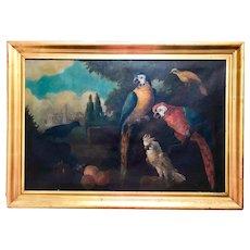 Jacob Bogdani Follower, Still Life with Parrots Oil on Canvas.