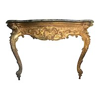 18th C. French Baroque Carved Giltwood Marble Console